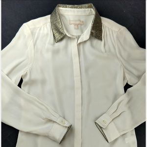 Banana Republic Ivory Metallic Blouse